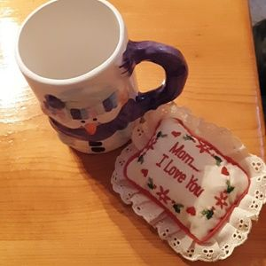 Other - Tiny mom I love you pillow and snowman mug